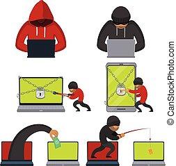 plano, estilo, hackers, dinero, computador portatil, robar, utilizar