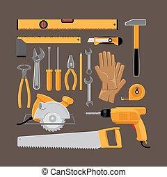 plano, estilo, herramientas manuales, iconos