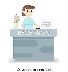 plano, estilo, hotel, ilustración, vector, recepción.