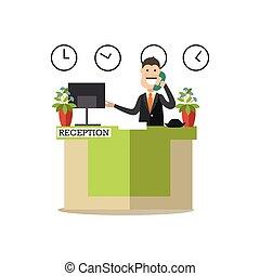 plano, estilo, hotel, ilustración, vector, recepcionista