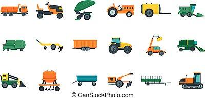 plano, estilo, iconos, conjunto, agrícola, máquinas