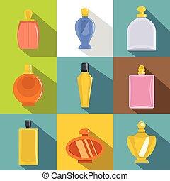 plano, estilo, iconos, conjunto, botella del perfume