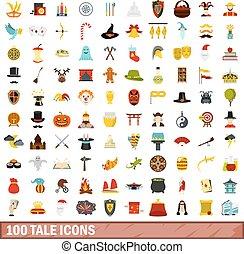 plano, estilo, iconos, conjunto, cuento, 100