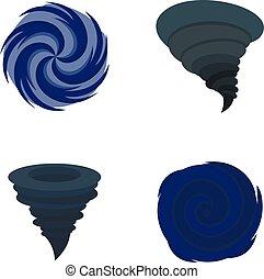 plano, estilo, iconos, conjunto, huracán, daño, tormenta