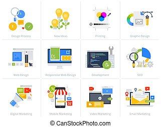 plano, estilo, iconos de concepto, aislado, diseño determinado, blanco