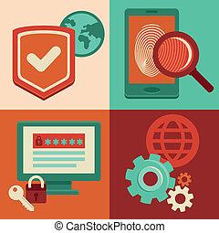 plano, estilo, iconos, vector, seguridad de internet