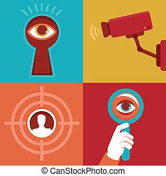 plano, estilo, -icons, vigilancia, vector, conceptos