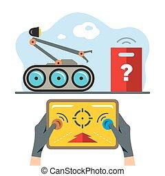 plano, estilo, illustration., colorido, robot, vector,...