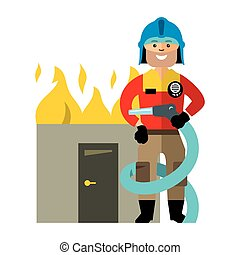 plano, estilo, illustration., colorido, vector, firefighter...