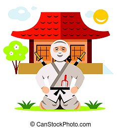 plano, estilo, illustration., colorido, vector, ninja, dojo...