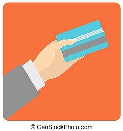 plano, estilo, illustration., mano, credito, diseño, pay.,...