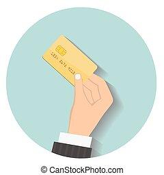 plano, estilo, illustration., paga, mano, credito, diseño,...
