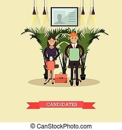 plano, estilo, ilustración, trabajo, vector, candidatos