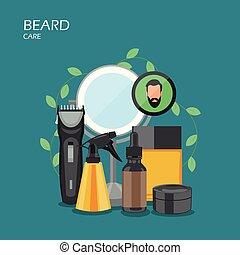 plano, estilo, ilustración, vector, diseño, cuidado, barba