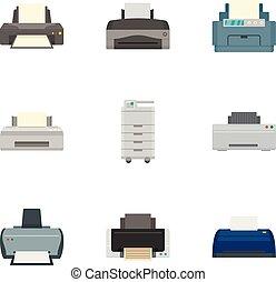 plano, estilo, impresora, laser, conjunto, icono