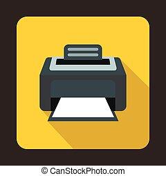 plano, estilo, impresora, laser, moderno, icono