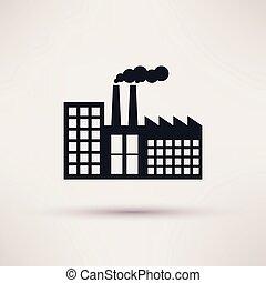 plano, estilo, industrial, fábrica, vector., icono
