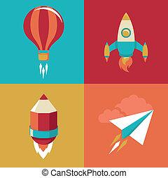 plano, estilo, lanzamiento, iconos, -, arriba, comienzo,...