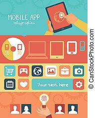 plano, estilo, móvil, app, vector, infographics