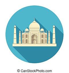 plano, estilo, mahal, illustration., símbolo, india,...