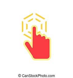 plano, estilo, mano,  cursor, icono, Clics