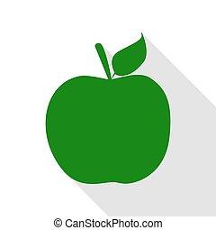 plano, estilo, manzana, illustration., señal, verde, sombra, path., icono