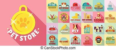 plano, estilo, mascota, conjunto, logotipo, tienda