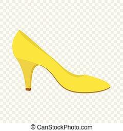 plano, estilo, mujer, amarillo, zapato, icono