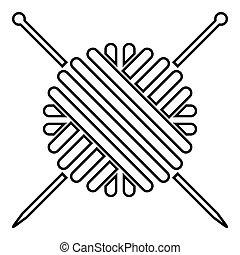 plano, estilo, pelota, tejido de punto, imagen del color, hilo, simple, agujas, negro, ilustración, lana, icono