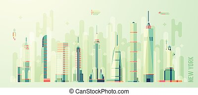plano, estilo, perfil de ciudad, vector, york, nuevo
