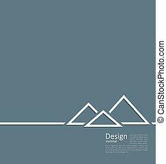plano, estilo, pirámide egipcia, símbolo, turismo, logotipo...