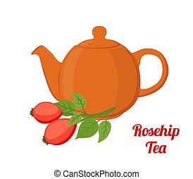 plano, estilo, rosa, briar, kettle., rosehip, vector, té, caricatura, haw