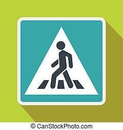 plano, estilo, señal, peatón, icono, camino