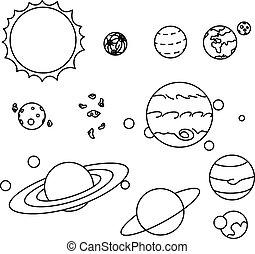 plano, estilo, sistema solar, planetas, conjunto