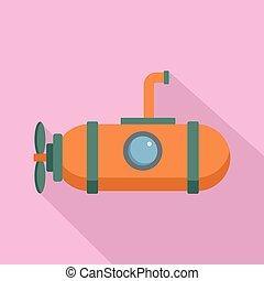 plano, estilo, submarino, una persona, icono