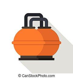 plano, estilo, tanque, almacenamiento, naranja, combustible, icono