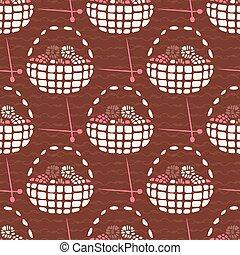 plano, estilo, tejido de punto, pattern., seamless, mano, cesta, dibujado, lana