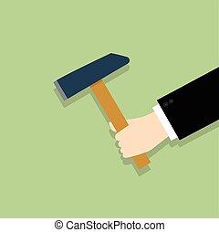 plano, estilo, -, tenencia de la mano, martillo