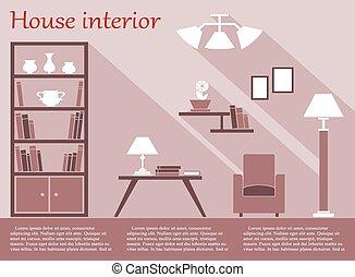 plano, estilo, texto, infographic, casa, interior, muebles