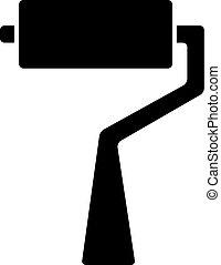 plano, estilo, ui, ilustración, apps, vector, negro, websites., icono, rodillo, cepillo