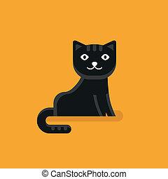 plano, estilo, vector, icono, gato