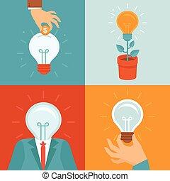 plano, estilo, vector, idea, conceptos