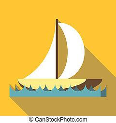 plano, estilo, vela, icono, deporte, barco