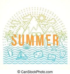 plano, estilo, verano, color, viaje, yate, isla, ilustración...
