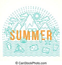 plano, estilo, verano, viaje, yate, isla, ilustración, ...