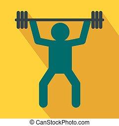 plano, estilo, weightlifting, icono