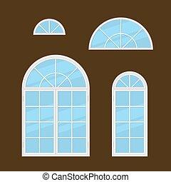 plano, estilo, windows, set., vector, tipos