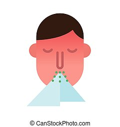 plano, estornudar, icono, persona, estilo