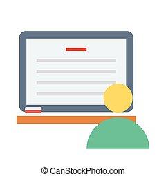 plano, estudio, en línea, icono