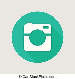 plano, foto, icono, cámara, vídeo, minimalism, diseño, hipster, o, estilo